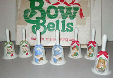 USED JASCO HAND PAINTED BOW BELLS FINE QUALITY BISQUE PORCELAIN - PARTIAL SET