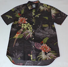 NWT Quiksilver Short Sleeve Black Hawaiian Print Button Front Shirt    L    L601
