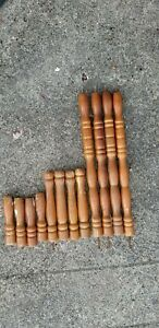 Antique BALUSTERS Stair Railing TRIM Turned Walnut Wood Spindles (12)