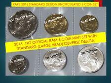NO RAM set RARE 2016 Unc 6 coin LARGE HEAD 5 cent 10c 20c 50c $1 roo $2 Ab elder
