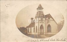 Ohio Postcard Real Photo RPPC 1909 OAK HARBOR Disciple Church
