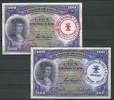 LOTE 2 BILLETES 100 PESETAS 1931 RESELLO FALANGE MILICIAS SEVILLA Y MALAGA REFSE