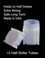 Coin Safe Square Archival Plastic Coin Tubes Lot Of 10 Half Dollar Storage Tube