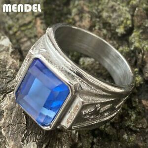 MENDEL Mens Stainless Steel Faux Blue Sapphire Stone Crystal Ring Men Size 7-13