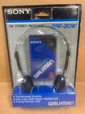 NEW Vintage -  SONY FM Stereo Walkman Model SRF-20W Blue Radio w/ Belt Clip