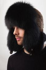 Jet Black Fox Fur Ushanka Hat Sheared Beaver Top Trapper Aviator Hat Saga Furs