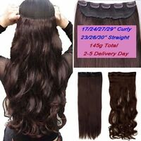 "US17-30"" Long Natural Clip In Hair Extensions 3/4 Full Head 5 Clips on Big Wavy"