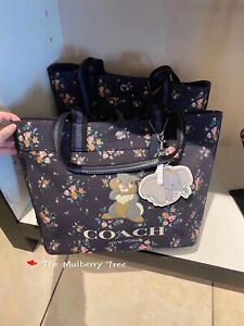 NWT Disney X Coach 91116 Tote With Rose Bouquet Print And Thumper MSRP $298