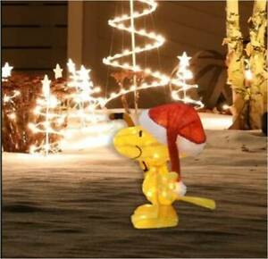 """18"""" Lighted Woodstock with Santa Hat 3D Sculpture Christmas Yard Décor (New)"""