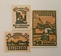 GOLDBERG REUTERGELD NOTGELD 10, 25, 50 PFENNIG 1922 NOTGELDSCHEINE (12049)