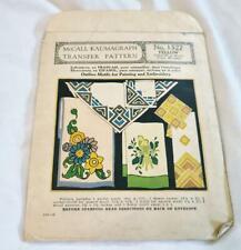 2 Vtg McCall Kaumagraph Transfer Patterns Floral Parrot Geometric No 1527 Yellow