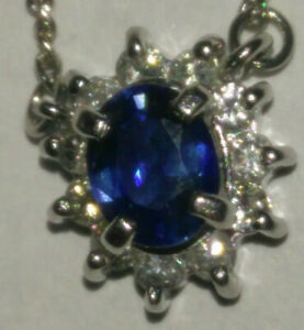 """Solid platinum natural sapphire and diamond pendant necklace 3.25 grams - 16.5"""""""