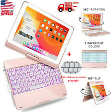For iPad 10.2 7th Gen 2019/10.5/Air 3 Bluetooth Keyboard Case 360 Backlit Cover