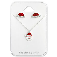 Sterling Silver Christmas Set with Crystal (Stud Earrings & Necklace)