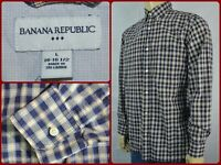 Banana Republic DARK Blue Yellow Plaid Mens Large Dress Casual Shirt Button Down