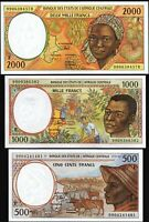 Central African Rep, 3 Pcs SET,500 1000 2000 FRANCS,1999,UNC,P-301Ff-302Ff-303Ff