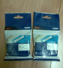 2 x GENUINE BROTHER PTOUCH TAPES 9mm. MK221s 4m Black/lwhite