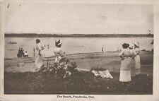 Women At The Beach Pembroke Ontario ON Ont M. Sutton Fancy Goods Postcard E13