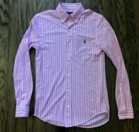 Ralph Lauren Mens Knit Oxford Fit Long Sleeve Button Front Shirt Size Small
