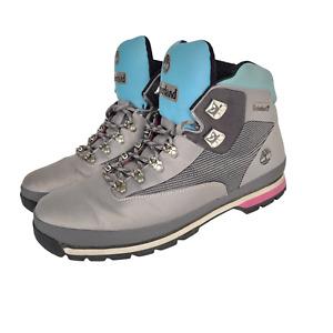 Timberland Euro Hiker Boots Mens Size 12 A2274 A3949 Grey Blue Pink