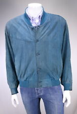 * SERAPHIN * France Turquoise Blue Suede Leather Bomber Jacket~ Large