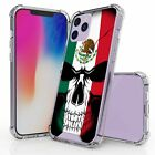 For iPhone 12 Pro Max Hybrid  Bumper Shockproof Case Mexico Flag Skull