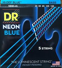 DR NBB5-45 Neon Blue BASS Guitar String 5-String Set  45-125