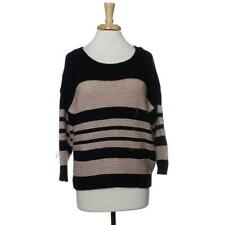 INC Womens XL Pull Over Knit Sweater Stripe Top 3/4 Sleeve Black Combo