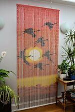 Bamboo Door Curtain Cranes Sunset Design , Wall Art, Reversible - 90 x 200 cm