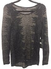 NEW Rock & Republic Glam Rocker Black Tie Sweater Top Small S NWT $60