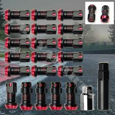 Black/ Red M12x1.5mm Closed-End Heavy Duty Extended Steel Lug Nuts 20PC/Set