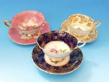 3 PRETTY PARAGON & CASTLE CHINA CUPS & SAUCERS - ROSES & FLOWERS