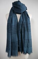 NEW BRUNELLO CUCINELLI $820 teal blue black 100% cashmere large scarf shawl