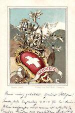 21840/ Litho, Wappen Karte, Schweiz, ca. 1900