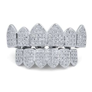 18K White Gold Bling Out Iced Custom GRILLZ Teeth Mouth Caps Top Bottom Grills..