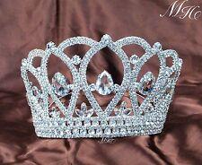 Handmade Large Full Round Crown Queen Clear Crystal Rhinestone Wedding Tiaras US