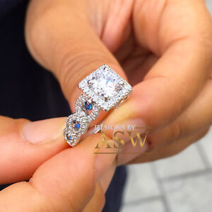 14K SOLID WHITE GOLD ROUND CUT SIMULATED DIAMOND SAPPHIRE ENGAGEMENT RING 2.00