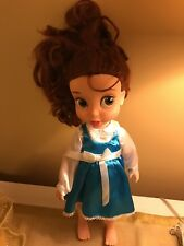 Disney Store Belle Toddler Doll Animators Collection Blue Gold Dress Extras