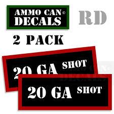 20 GA SHOT Ammo Decal Sticker Set bullet ARMY Gun safety Can Box Hunt 2 pack RD