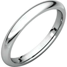 2.5mm 18K Solid White Gold Plain Dome Half Round Comfort Fit Wedding Band Ring
