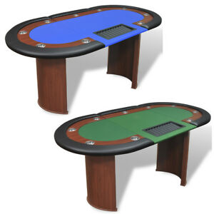 vidaXL Tavolo da Poker 10 Giocatori Postazione Dealer Vassoio Gambe Verde/Blu
