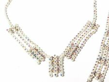 Vintage Czech necklace bracelet set metallic AB glass rhinestone jewel banding