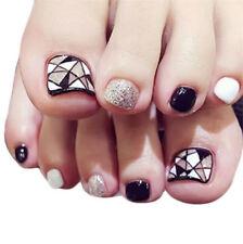 X24 False Toe Nails French Full Toenails Feet Nails Art Fake Plastic Nails Box