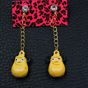 Betsey Johnson Yellow Enamel Rhinestone Cartoon Women's Drop Earrings