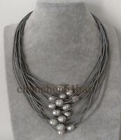 15 Reihe 10-11mm grau Süßwasserperle grau Leder Halskette 17-20 zoll