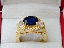 Unbranded Sapphire Round Yellow Gold Filled Costume Rings