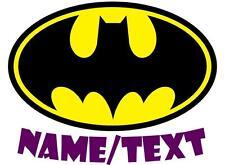 1 LARGE PERSONALISED BATMAN LOGO IRON ON T SHIRT TRANSFER LIGHT/WHITE FABRICS