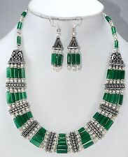 Necklace earrings natural green onyx gemstone beaded handmade fashion jewelry