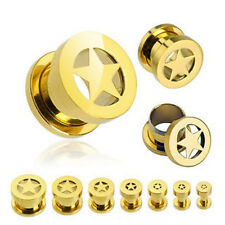 Plugs Earlets Gauges 8g,6g,4g,2g,0g,00g,1/2 34; Pair Gold Star Screw Fit Tunnels