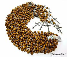 12 x OLIVE WOOD ROSARY NECKLACE ROUND BEADS CROSS CRUCIFIX JERUSALEM SOIL LOT